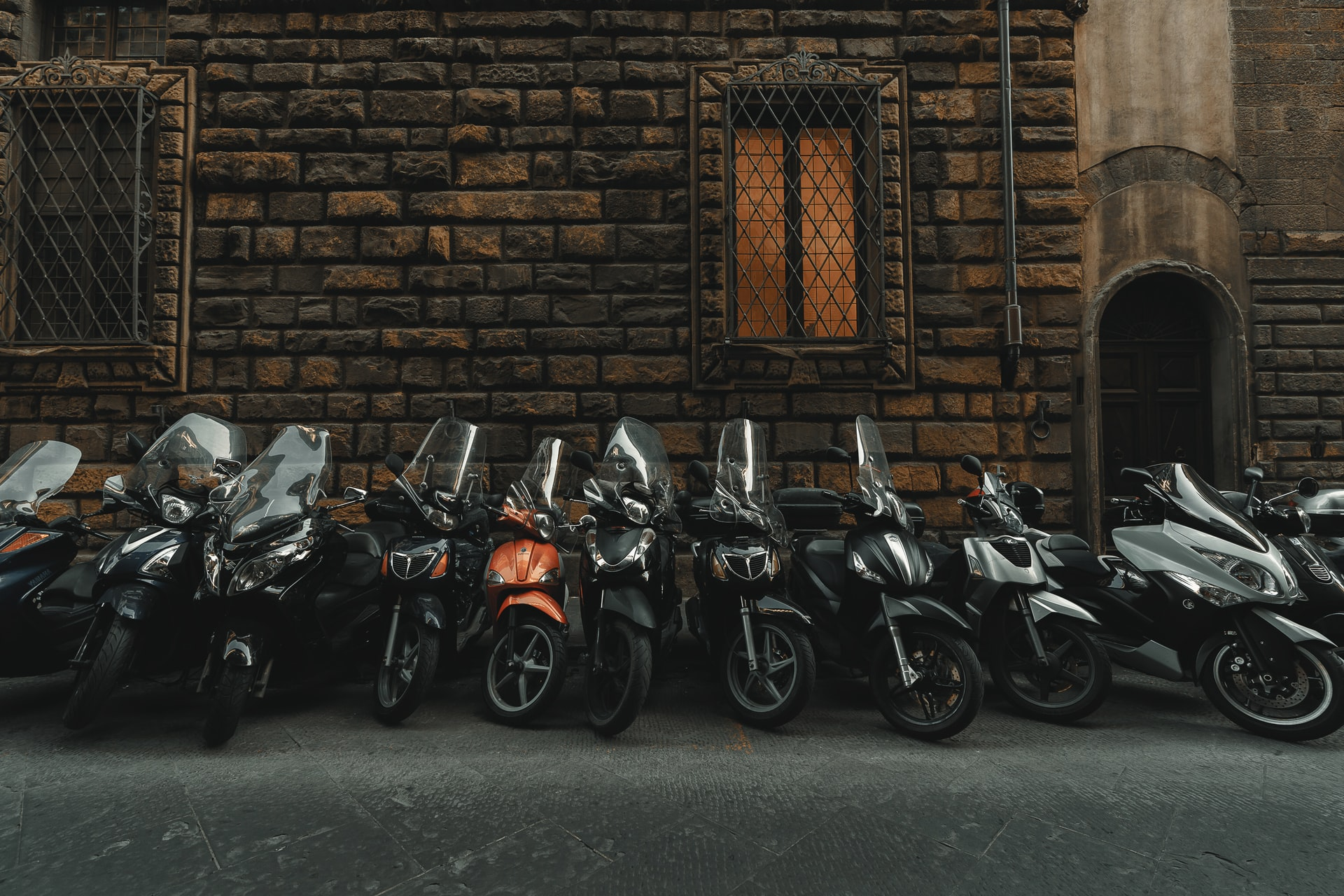 Motorcycles parked one stands out